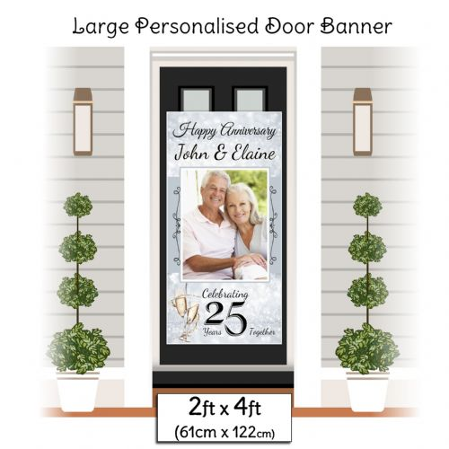 Personalised 25th Silver Wedding Anniversary Door PHOTO Banner Poster ~ N18